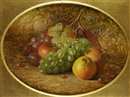 Charles Archer, Still life with fruit on a mossy bank
