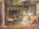 Henry Edward Spernon Tozer, Old woman sewing by the fireside; Old man reading the newspaper by the fireside