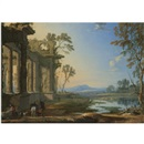 Pierre Patel, A landscape at evening with travellers and a hunter near classical ruins