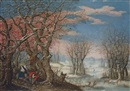 Denis van Alsloot, A winter landscape with the Flight into Egypt