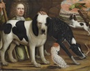 Anglo-Dutch School (17), A man in a green suit kneeling next to a Wiltshire hound and a cockatoo, with other hounds and a parrot