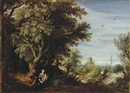 Alexander Keirincx, A wooded landscape with the rest on the flight to Egypt