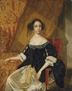 Anglo-Dutch School (17), Portrait of a lady (Queen Catherine of Braganza?) in a black velvet bodice with pearls and a white satin dress