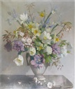 Vernon Ward, Still life of spring flowers in an urn shaped vase