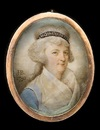 John Bogle, A lady, wearing blue dress with white fichu, her hair powdered and upswept beneath a blue bandeau bearing inscription King and Constitution