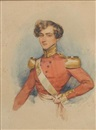 François Théodore Rochard, Captain Robert Dean Werge of the 39th Foot, wearing red coatee with gold collar and epaulettes, white cross belt bearing gilt belt plate
