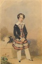 François Théodore Rochard, A young boy, wearing black velvet coat over tartan tunic with buttoned front and white collar, white drawers and black slippers