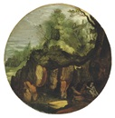 Follower Of Lucas van Valkenborch, A rocky landscape with a hermit saint reading underneath a tree