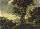 Circle Of Alexander Keirincx, A wooded river landscape with Diana and her nymphs hunting