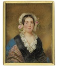 Alois von Anreiter, A young lady, in black dress with lace collar and white underdress, a blue Cashmere stole draped over her shoulders, gold necklace, white bonnet adorned with pink roses and foliage in her dark hair