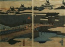 Utagawa Yoshitora, Procession over a Castle Bridge (diptych)