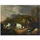 Adriaen Beeldemaker, A southern landscape with three spaniels and other hounds, two huntsmen with a dead hare in the background, near classical ruins