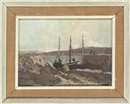 Edward Morland Lewis, Boats moored in the harbour, Connemara (+ Townscape; verso)