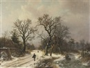 Alexander Joseph Daiwaille, On a snowy track in winter