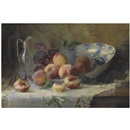 Louise Coupé, A still life with peaches and a porcelain bowl