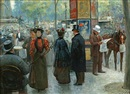 Louis Rémy Sabattier, Elegant figures by an outdoor cafe on a Parisian street