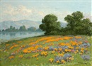 William Franklin Jackson, Poppies and lupine in a California landscape