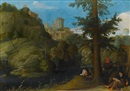 Attributed To Johann (Hans) Konig, A hermit with two travellers in a wooded landscape