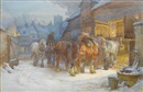 Charles James Adams, Horses being led to their stables at dusk