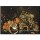 Cornelis de Bryer, A still life with grapes, oranges, berries, a Roemer of wine and partly peeled lemon on a stone ledge
