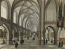 Hendrick van Steenwyck the Elder, A gothic church interior with elegantly dressed figures