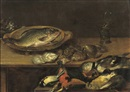 Alexander Adriaenssen, A fish, oysters and songbirds on a wooden table