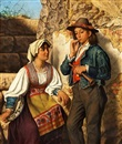 Eman. R. Ginzel, A young Italian couple, he is holding a flute, she is holding a tambourine