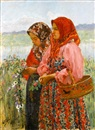 Ivan Semionovich Kulikov, Two young girls gathering flowers