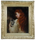 Mary Hariett Earnshaw, Portrait of a red-haired girl, said to be miss Dorothy twemlow, holding a tabby kitten