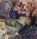 Louise Coupé, Floral still life with fruit