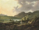 Attributed To William Ashford, A mountainous lake landscape