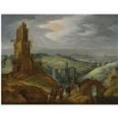 Tobias Verhaecht, Landscape with travellers on horseback beneath a ruined tower, a distant city beyond
