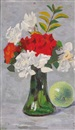 Michael Healy, Orange and white flowers in a green, bell-bottomed vase