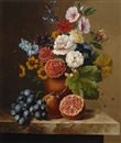 Jan van der Waarden, Still life of flowers with pomegranates and grapes