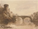 Thomas Allom, A bridge crossing the river Esk