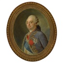 Circle Of Joseph Boze, Portrait of Louis XVI, King of France, wearing a blue and gold embroidered velvet coat, the insignia of the order of the Holy Spirit and its blue sash, the so-called Cordon bleu