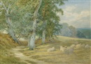 Charles James Adams, Herding sheep along a Surrey lane in autumn (+ Sheep resting by a woodland path; pair)