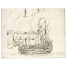 Willem van de Velde the Elder, A Man O War luffing (study)