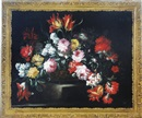 Follower Of Mario Nuzzi, Still life with poppies, peonies and tulips in a basket