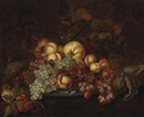 Attributed To Bartholomeus Assteyn, A still life with grapes, peaches and other fruit in a porcelain dish on a partially-draped table