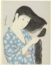 Goyo Hashiguchi, Woman brushing her hair.3