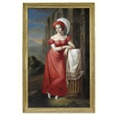 Pietro Luchine, Portrait of a lady in a red dress