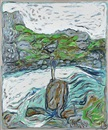 Billy Childish, Man on a rock in river althing, Iceland