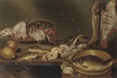 Studio Of Alexander Adriaenssen, A lemon, a peach, fish heads on a plate, a pike and a flatfish on a hook and eels, all on a wooden table