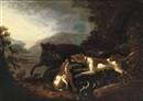 Attributed To Adriaen Beeldemaker, Hounds attacking a boar in a hilly river landscape