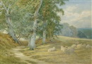 Charles James Adams, Herding sheep along a Surrey lane in autumn (+ another; pair)