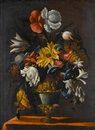 Circle Of Mario Nuzzi, A sunflower and other flowers in an urn on a table top