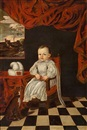 Attributed To Enrico (Giovanni E.) Waymer, A little prince or princess in a white dress and a dog