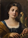 Attributed To Gaspare Traversi, Giovane donna alla spinetta con pappagallo (Allegoria dell'Udito)