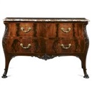 Manner Of Thomas Chippendale, A George II style bombé commode with an antico rouge serpentine top